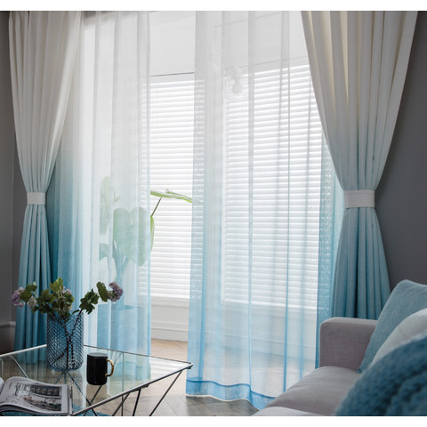 The Perfect Blend Ombre Blue sheer Curtain 3
