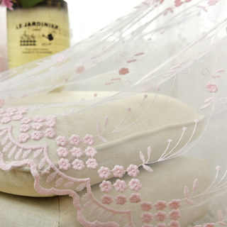Small Great Things Pink Flower Embroidered Sheer Curtain 3