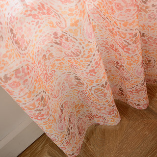 Orange Starburst Paisley patterned Sheer Voile Curtain 2