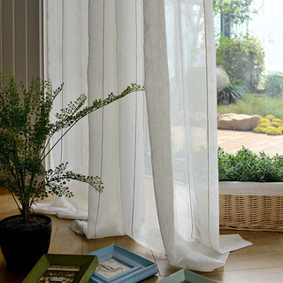 Cosmo Vertical Brown Striped Lines Sheer Voile Curtain 1