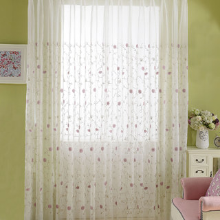 Floral Affairs Pink Flower Embroidered Sheer Curtain 5