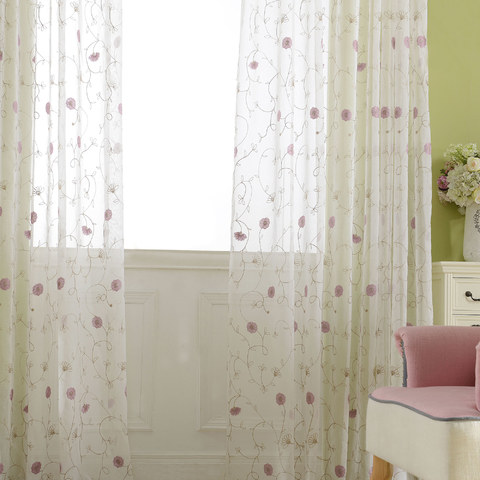 Floral Affairs Pink Flower Embroidered Sheer Curtain 2