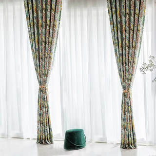 Alexsandra Colourful Leaves Fowers Birds Vibrant Multi Coloured Curtain 6