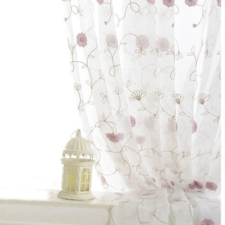 Floral Affairs Pink Flower Embroidered Sheer Curtain 6
