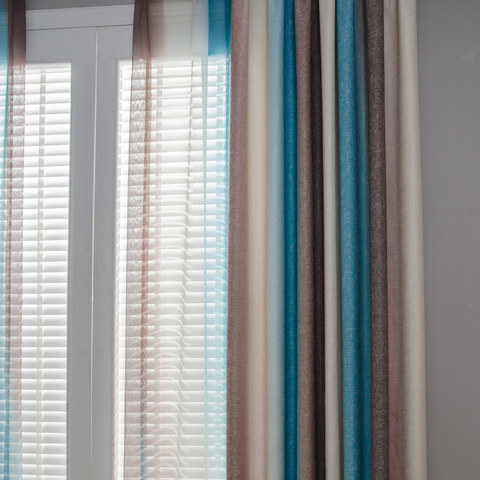 Sea Breeze Cocktail Coconut Shell Brown And Seashore Blue Striped Sheer Voile Curtain 4
