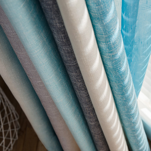 Sea Breeze Cocktail Rock Grey And Beach Blue Striped Curtain 4