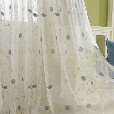 Floral Affairs Grey Blue Flower Embroidered Sheer Voile Curtain 2