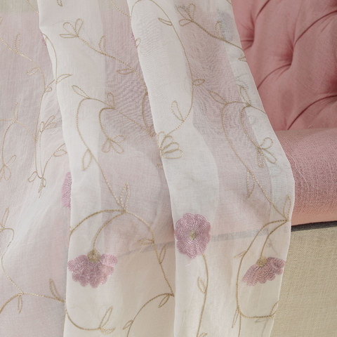 Floral Affairs Pink Flower Embroidered Sheer Curtain 8