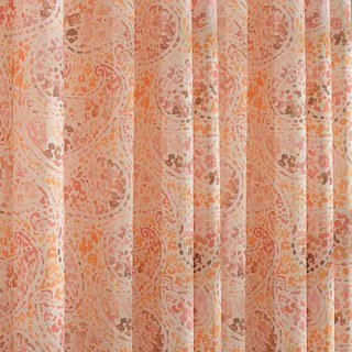 Orange Starburst Paisley patterned Sheer Voile Curtain 3