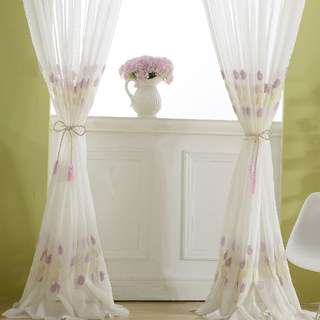 Tulip Fever Pink And Yellow Embroidered Floral Sheer Curtain 1