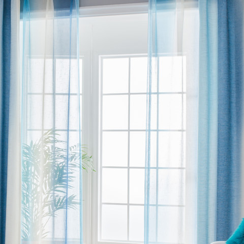 Sea Breeze Cocktail Pastel Sea Blue Coconut White Sheer Voile Curtain 1
