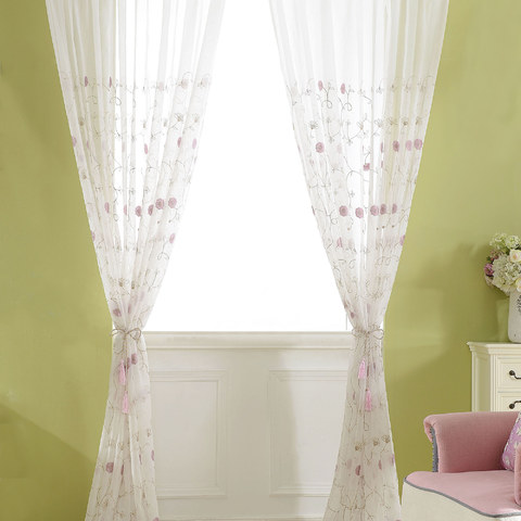 Floral Affairs Pink Flower Embroidered Sheer Curtain 3