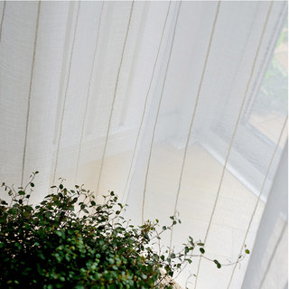 Diana Single Strand Vertical Gold Stitched Lines Sheer Voile Curtain 2
