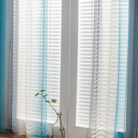 Sea Breeze Cocktail Rock Grey And Beach Blue Striped Sheer Voile Curtain 1