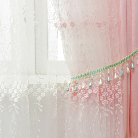 Small Great Things Pink Flower Embroidered Sheer Curtain 4