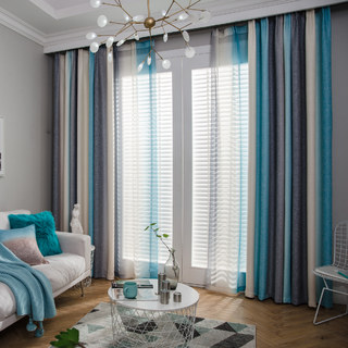Sea Breeze Cocktail Rock Grey And Beach Blue Striped Sheer Voile Curtain 5