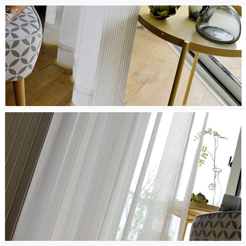 Elizabeth White Semi Sheer Vertical Bands White Lines Sheer Voile Curtain 6