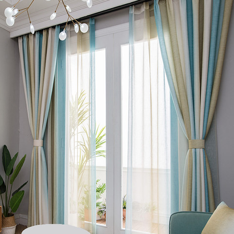 Sea Breeze Cocktail Yellow Beach Sand And Turquoise Sea Striped Sheer Voile Curtain 4