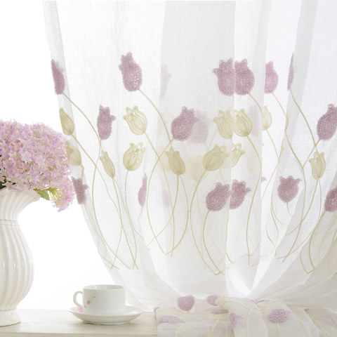 Tulip Fever Pink And Yellow Embroidered Floral Sheer Curtain 2