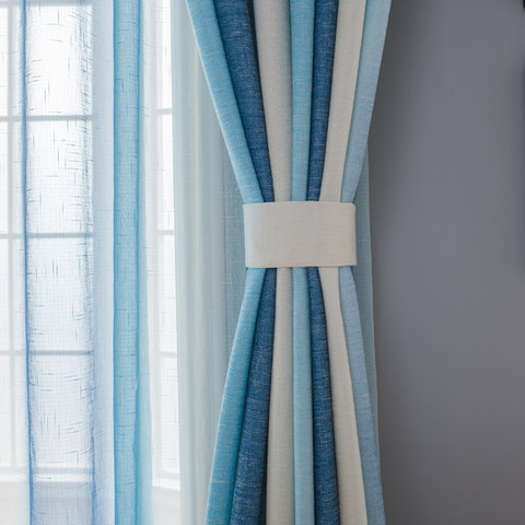 Sea Breeze Cocktail Sea Blue and Coconut White Striped Curtain 4