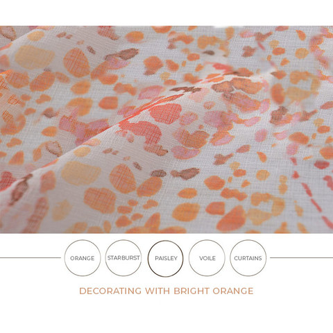 Orange Starburst Paisley patterned Sheer Voile Curtain 4