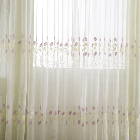 Tulip Fever Pink And Yellow Embroidered Floral Sheer Curtain 3