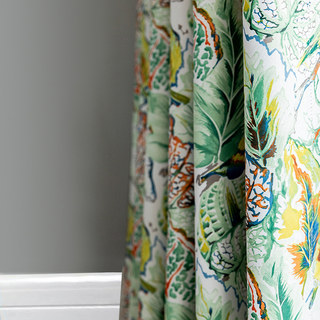 Alexsandra Colourful Leaves Fowers Birds Vibrant Multi Coloured Curtain 1