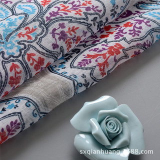 Semi Sheer Curtain Harmony Lotus Paisley Flower Blue White Red Purple Voile Curtain 6