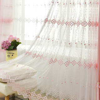 Small Great Things Pink Flower Embroidered Sheer Curtain 1