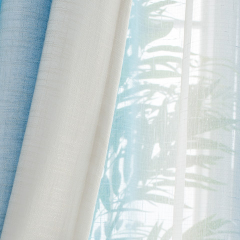 Sea Breeze Cocktail Pastel Sea Blue Coconut White Sheer Voile Curtain 5