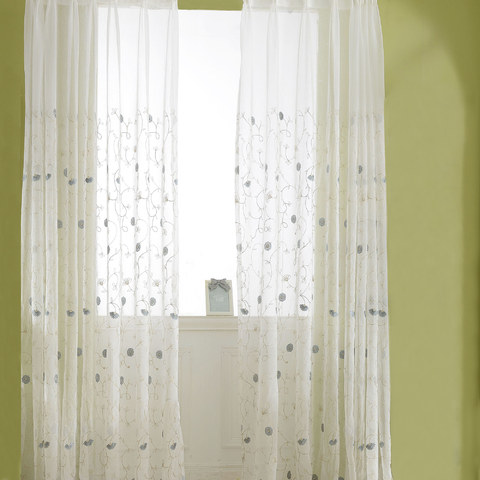 Floral Affairs Grey Blue Flower Embroidered Sheer Voile Curtain 3