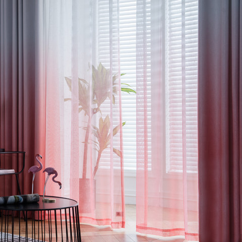 The Perfect Blend Ombre Red Orange Sheer Voile Curtain 1