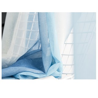 Sea Breeze Cocktail Pastel Sea Blue Coconut White Sheer Voile Curtain 8