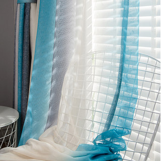 Sea Breeze Cocktail Rock Grey And Beach Blue Striped Sheer Voile Curtain 2