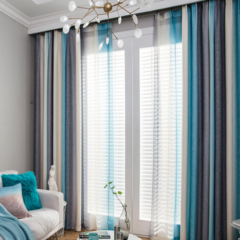 Sea Breeze Cocktail Rock Grey And Beach Blue Striped Curtain 1