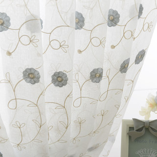 Floral Affairs Grey Blue Flower Embroidered Sheer Voile Curtain 5