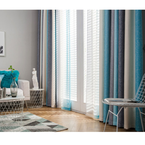Sea Breeze Cocktail Rock Grey And Beach Blue Striped Curtain 5