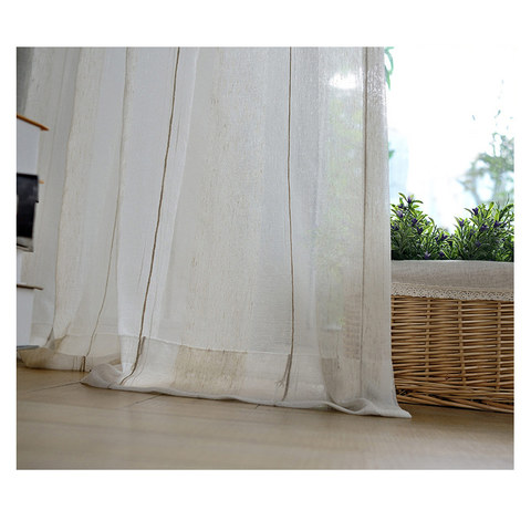 Cosmo Vertical Brown Striped Lines Sheer Voile Curtain 3