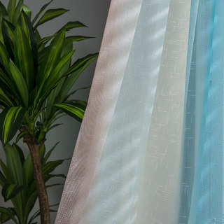 Sea Breeze Cocktail Rock Grey And Beach Blue Striped Sheer Voile Curtain 3