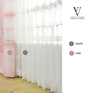 Small Great Things Pink Flower Embroidered Sheer Curtain 7