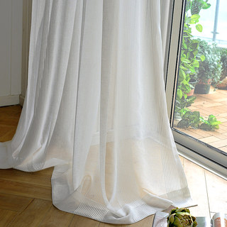 Elizabeth White Semi Sheer Vertical Bands White Lines Sheer Voile Curtain 5
