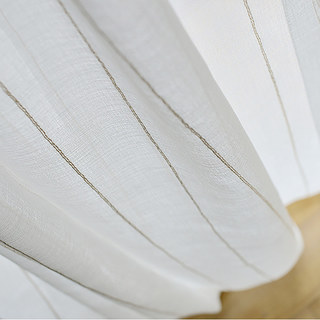 Diana Single Strand Vertical Gold Stitched Lines Sheer Voile Curtain 3