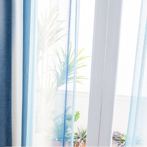 Sea Breeze Cocktail Pastel Sea Blue Coconut White Sheer Voile Curtain 6