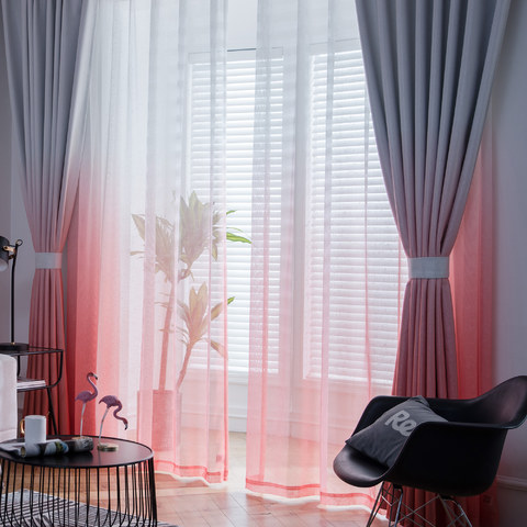 The Perfect Blend Ombre Red Orange Sheer Voile Curtain 6