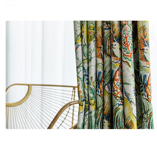 Alexsandra Colourful Leaves Fowers Birds Vibrant Multi Coloured Curtain 8