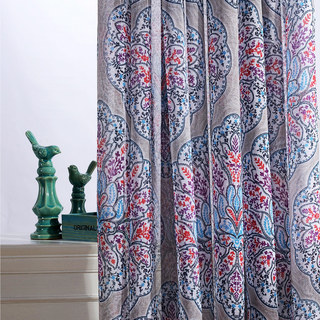 Semi Sheer Curtain Harmony Lotus Paisley Flower Blue White Red Purple Voile Curtain 1