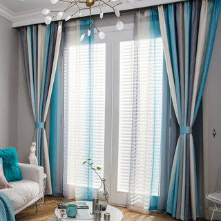 Sea Breeze Cocktail Rock Grey And Beach Blue Striped Curtain 2