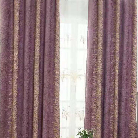 Chenille Jacquard Gold Floral Teal Purple Curtain 1