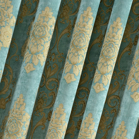 Luxury Damask Heavy Chenille Jacquard Teal Blue Curtain 4