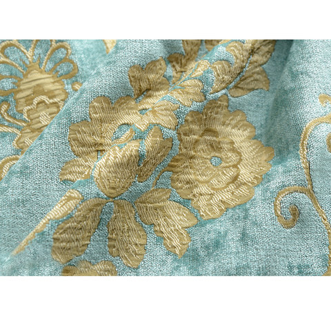 Luxury Damask Heavy Chenille Jacquard Teal Blue Curtain 5